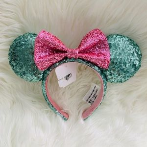 Disney Parks Mint Green Pink Bow Minnie Mouse Ears